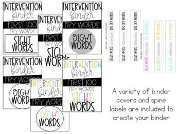 Sight Word Intervention Binder (First 100 FRY Words)