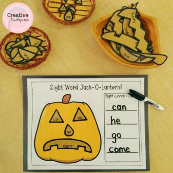 Sight Word Jack-O-Lantern Kindergarten Literacy Center for Halloween