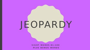 Sight Word Jeopardy - Words 81-100