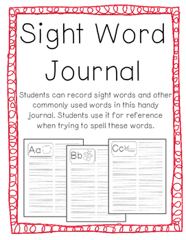Sight Word Recording Journal