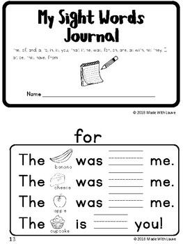 Sight Word Journal (Fry Words 1-25)