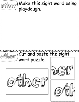 Sight Word Journaling Unit2.1  ( Will up other about out  )