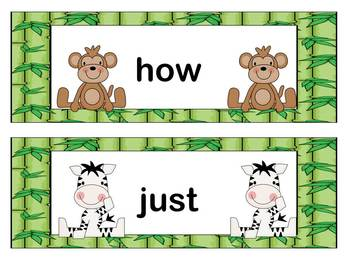 Sight Words:  Jungle Theme Word Wall