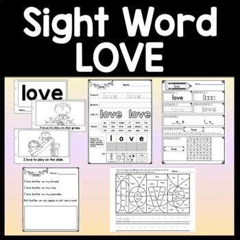 Sight Word LOVE {2 Sight Word Books and 4 Worksheets!}