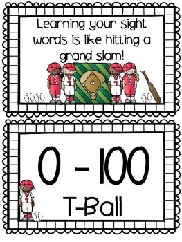 Sight Word Ladder - Baseball Themed