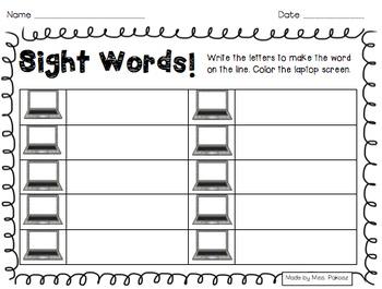 Sight Word Laptop Scrambles - PrePrimer Edition