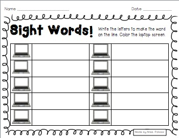 Sight Word Laptop Scrambles - Primer Edition