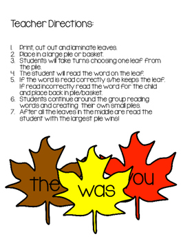 Sight Word Activity: Leaf Pile Game