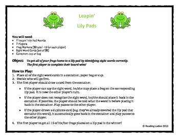 Sight Word Leapin' Lily Pads Game (Dolch Words/First Grade/Game Version B)