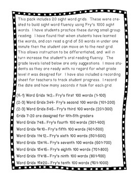Fry Words Learning Grid Fluency