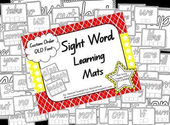 Sight Word Learning Mats *** QLD (Australia) font {CUSTOM ORDER}