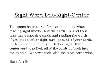Sight Word Left-Right-Center
