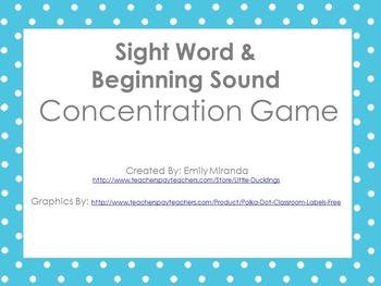 Sight Word & Beginning Sound Game