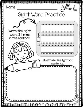 Sight Word Lightbox Slides and Interactive Activities: Primer