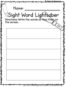 Sight Word Lightsaber