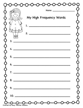 High Frequency Sight Word List