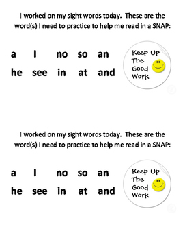 Sight Word List, Certificates, Review, and Game