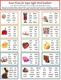 Sight Word List Fun Candy Seat Work Transition Chart