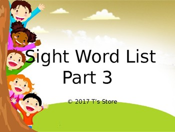 Sight Word List Part 3