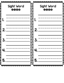 Sight Word List - Printable Template