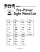 Sight Word List - Sight Words Checklist Practice Worksheet