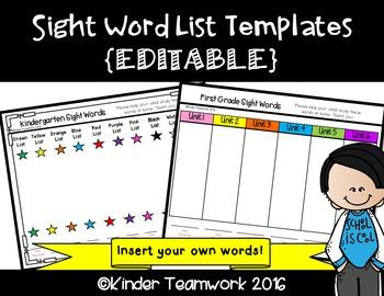 Sight Word List Templates {Editable}: Create your own list!