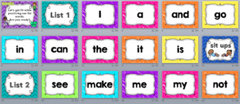 Sight Word List Word Work Out for Kindergarten