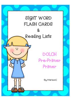 Sight Word Lists & Flash Cards Pre-Primer & Primer