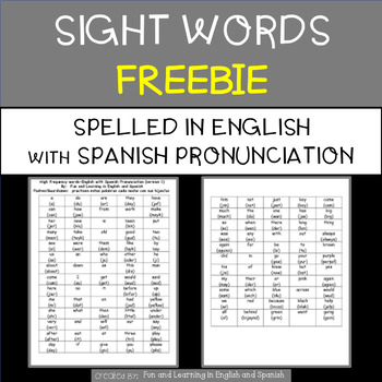 Sight Word Lists - Spelled in English and Spanish Pronunciation