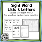 Sight Word Lists and Letters- 220 High Frequency Words