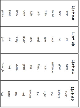 Fry Sight Word Lists, Flash Cards and Progress Monitoring Set (Second 100 Words)