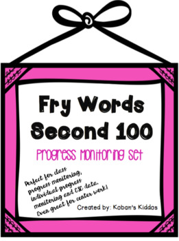 Sight Word Lists and Progress Monitoring (Second 100 FRY Words!)