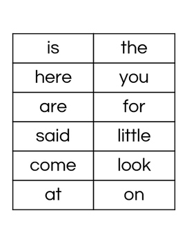 Sight Word Lists with Flashcards
