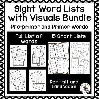 Sight Word Lists with Visuals Bundle Pre-Primer and Primer Levels