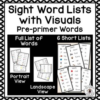 Sight Word Lists with Visuals Pre-Primer Level