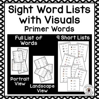 Sight Word Lists with Visuals Primer Level