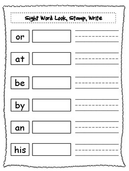 Sight Word Look, Stamp, Write