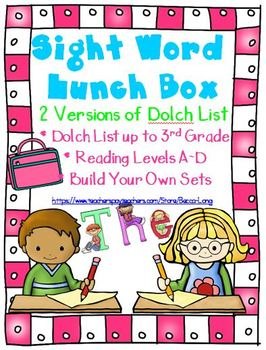 Sight Word Lunch Box - Dolch List - Editable