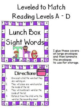 Sight Word Lunch Box - Dolch List - Editable