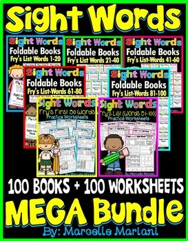 Sight Words BUNDLE-100 BOOKS & 100 WORKSHEETS (Fry's 1st 1