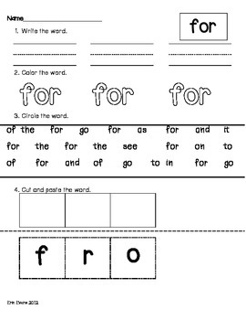 Sight Word Madness! - Printable Sight Word Activities