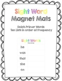 Sight Word Magnet Mats - Dolch Primer - See it, Build it