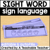 Sight Word Sign Language Mats EDITABLE