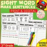 Sight Word Make Sentences (Second Grade) Print & Digital |