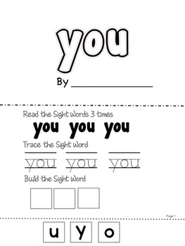 Sight Word Make and Take Five page book of Fun Activities (List 1 25 sight words