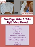 Sight Word Make and Take Five page book of Fun Activities