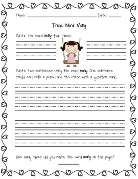 Sight Word: Many