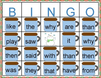 Sight Word Marshmallow Hot Chocolate Winter  Bingo