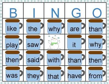 Sight Word Marshmallow Winter Bingo