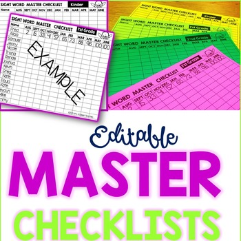 Sight Word Master Checklists